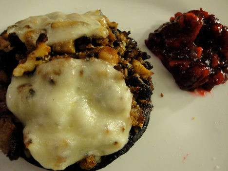 Stuffed cap with very berry cranberry sauce